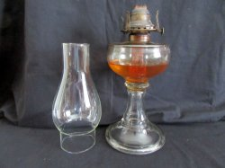 Tall Glass Oil Kerosene Lamp with White Flame Burner and Shade