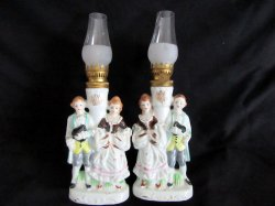 Vintage Miniature Oil Kerosene Lamps Pair Victorian Couple