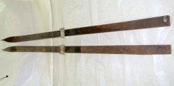 Antique Vintage Downhill Wood Skis Notch Top 80 In.