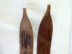 '.Antique wood winter snow skis.'