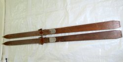 Antique Maple Wood Notch tip Downhill Snow Skis 83 Inch