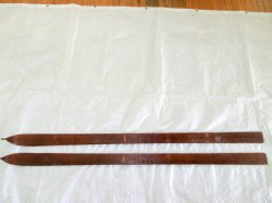 Vintage Lund Antique Downhill Wood Notch tip Skis 71 Inch