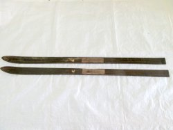 Antique Lund  Wood Carved Downhill Snow Skis 70 Inch