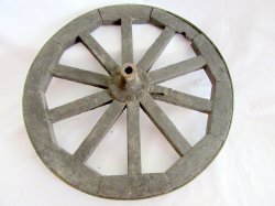 Wood Spoke & Iron Rim Wheelbarrow or Cart Wheel Antique Primitive