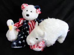 Ty Beanie Buddies Spangle (Am Teddy) Roam (Wh Buffalo) & Babies Goddess Swan