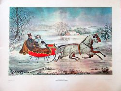Currier and Ives Lithograph Print The Road-Winter 22 x 28
