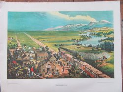 Currier and Ives lithograph Across the Continent Vintage 22 x 28 Railroad Print