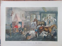 Currier and Ives lithograph Print Trotting Crack's At The Forge 22 x 28