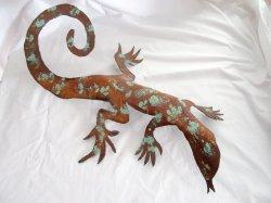 Rustic Western Metal Art Desert Lizard Sculpture Gecko