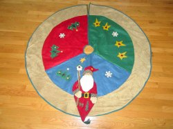 Large Christmas Tree Skirt 55 Inch Felt and Wool
