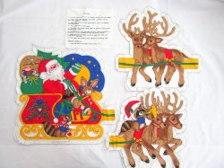 Stuffed Santa and Reindeer Cut Fabric Panel Christmas Holiday Connecting Pillows