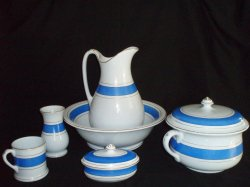 Glamorgan Pottery Wash Basin Bowl and Pitcher Ewer 8 Piece Set