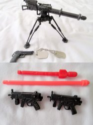 Vintage G I Joe Lot Tripod Rocket Launcher, Missiles, Dog Tags and Guns
