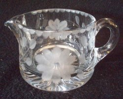 Heisey Glass Creamer Etched Floral and Leaves