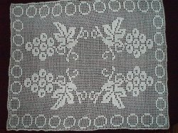 Filet Crochet Grape Clusters Doily Vintage Off White Handmade 32 x 26 Inches