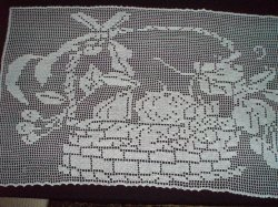 Filet Crochet Fruit in Basket vintage Tablecloth 55 X 34 inches