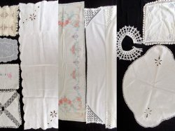 Doily, Table Cloth, Runners, and Textile 10 piece lot Vintage