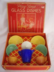 Play Time Akro Agate Child's Tea Set dishes vintage