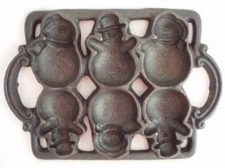 '.Cast Iron Muffin Snowmen mold.'