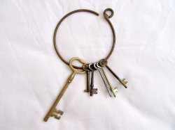 SIX Skeleton Keys on Large Brass Ring Antique