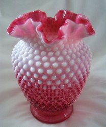 Fenton Cranberry Opalescent Hobnail Double Crimped 8 Inch Vase 3858 CR