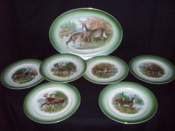 R K Beck Buffalo Pottery Wildlife Platter and 6 Plates Vintage