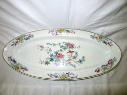Antique Large Oval Fish Serving Platter Floral Pattern