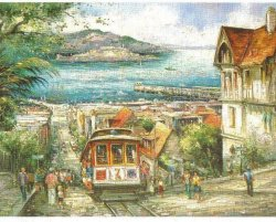 Cable Car Hyde Street San Francisco Linen Postcard