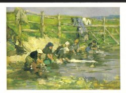 Laundresses By A Stream Art Print Postcard Impressionist style