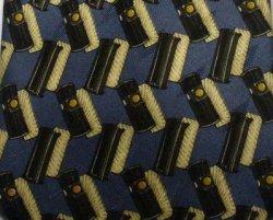 Valentino Cravatte Mens Silk Tie Necktie Navy Gold Print