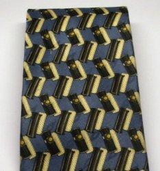 '.Silk Tie Necktie Navy Gold.'