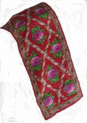 Oscar De La Renta Peony Silk Scarf Red Pink Green
