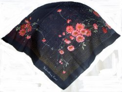 Valentina Fiore Print Silk Scarf Navy Pink Green 30 inches