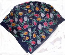 Echo Club 7 Tulips Cotton Scarf Navy Green Red 30 inches