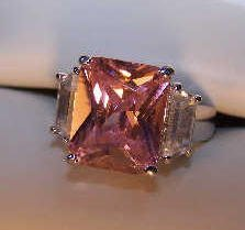 Ladies Princess Cut Pink CZ  Baguettes Cocktail Ring size 7