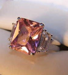 '.Pink CZ Baguettes Ring size 7.'