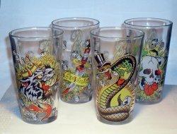Ed Hardy Gambler Pint Glass Set of 4 16 Oz EH68161