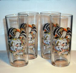 Don Ed Hardy Battle Skulls Hi Ball Glasses Set of 4 Tattoo Gift Set