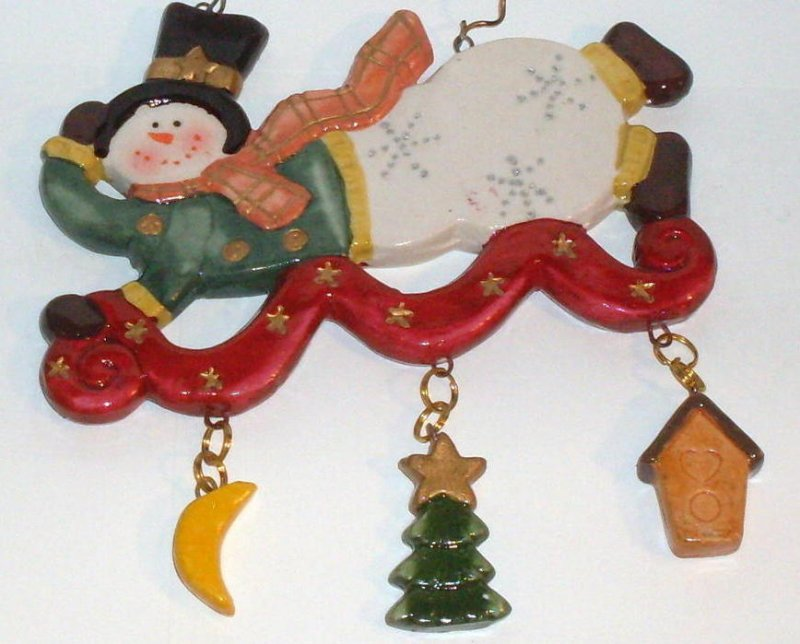 Flying Snowman on Magic Carpet Holiday Ornament