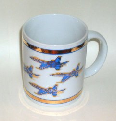Blue Angels Coffee Cup Mug Gold Embossed 12 Oz