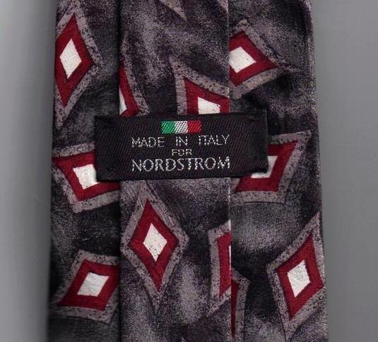 Nordstrom Mens Silk Tie Necktie Gray Red White Print