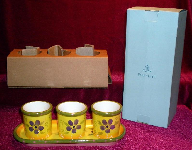 Partylite Flower Pot Trio P9270 Votive Holders or Herb Pots