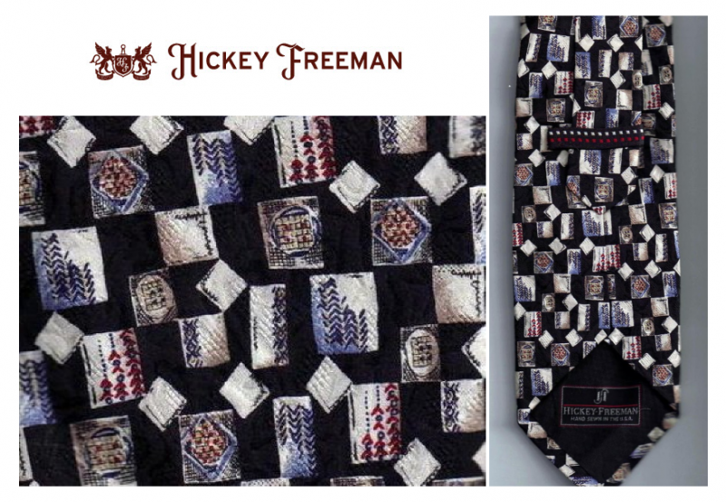 Hickey Freeman Mens Silk Tie Necktie Blue Red White Print