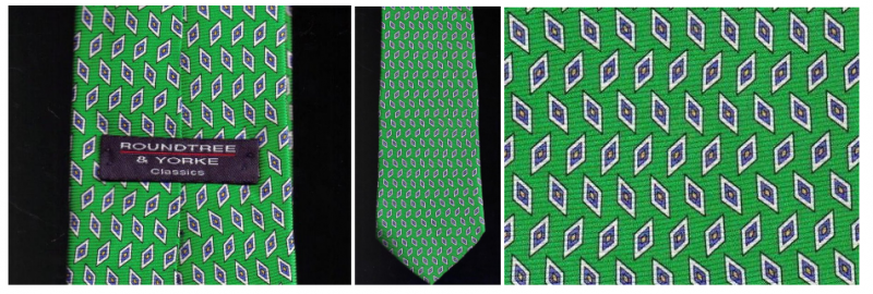 Roundtree & York Tie Mens Necktie Silk Green Blue Print