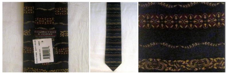 Roundtree & York Navy Silk Necktie Persian Paneled Print Tie