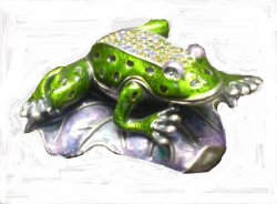 Pewter and Crystal Jeweled Frog Trinket Box Collectible