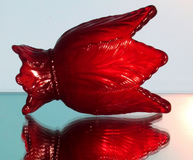 Fenton Reversible Candle Holder Ruby Red Art Glass for Votives or Tapers