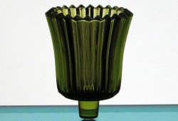 Home Interiors Peg Votive Candle Holder Ridged Olive Green