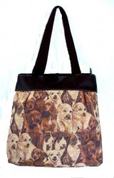 Puppy Love Dogs Tapestry Handbag Tote Light Brown Canvas
