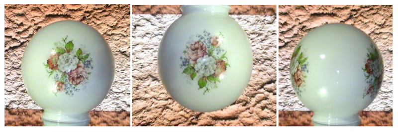 Ball Lamp Shade Opal White Camellias Peonies 3 1/8 inch fitter 6 x 6